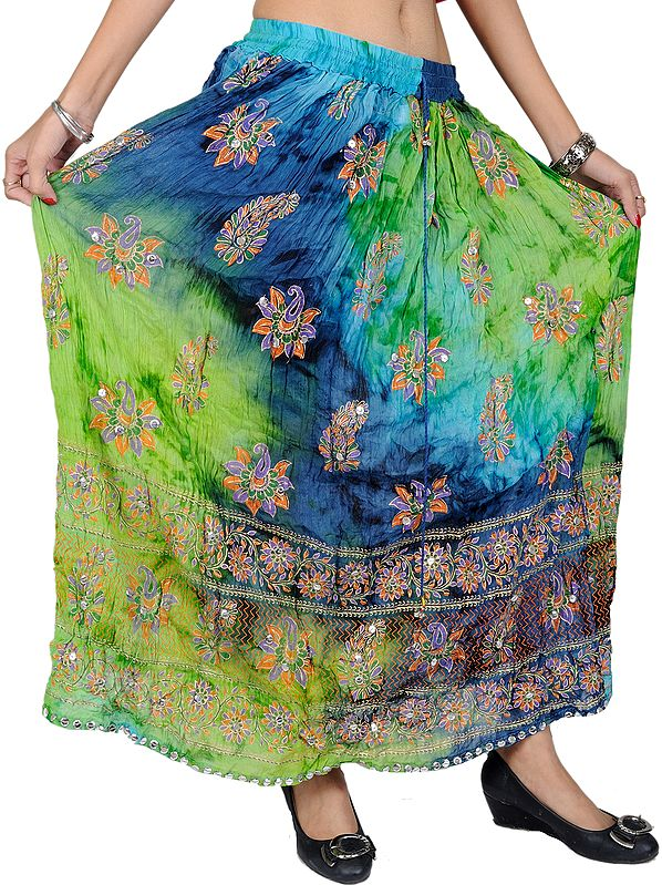 Green Flash Long Skirt with Printed Flowers and Embroidered Sequins