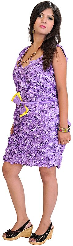 Barbie Midi-Dress with Applique Flowers and Embroidered Sequins