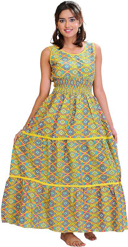 Mimosa-Yellow Barbie Maxi-Dress with Persian Print