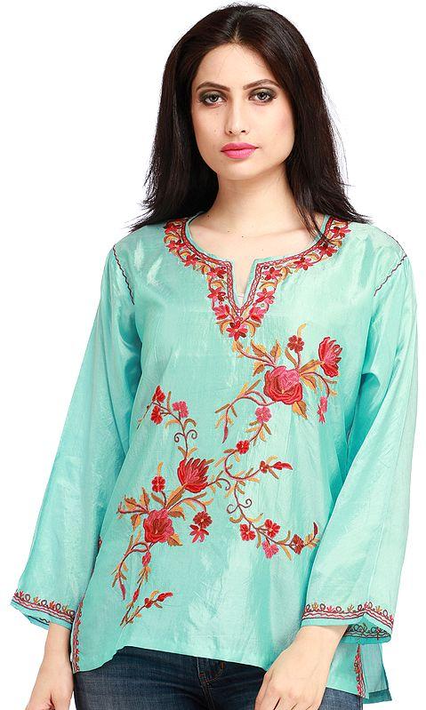Aqua-Sky Short Kashmiri Kurti with Embroidered Flowers by Hand