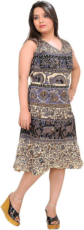 Peach and Blue Sanganeri Summer Dress with Printed Elephants and Peacocks