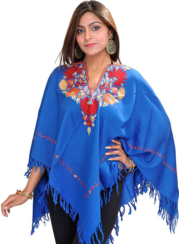 Poncho from Kashmir with Ari Hand-Embroidery on Neck