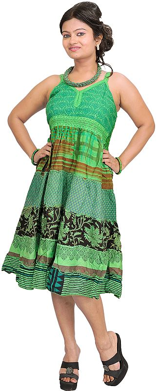 Bud-Green Printed Barbie Dress with Patchwork