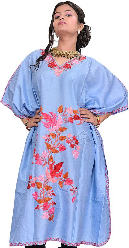 Placid-Blue Kashmiri Short Kaftan with Ari Embroidered Maple Leaves