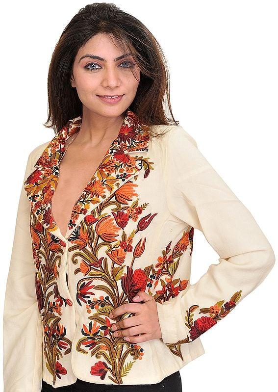 Winter-White Kashmiri Short Jacket with Ari Hand-Embroidered Flowers