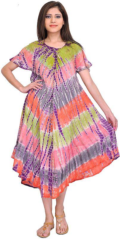 Multicolor Batik Printed Dress with Dori on Neck