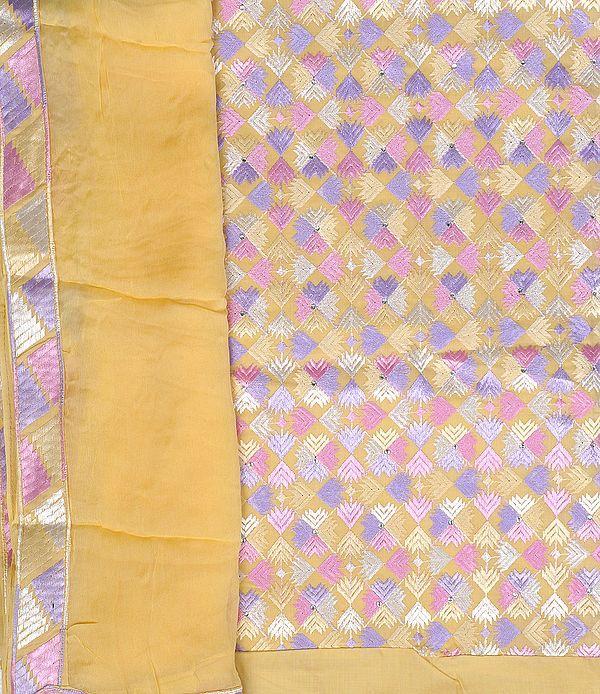 Straw-Yellow Phulkari Salwar Kameez Fabric From Punjab with Ari Embroidery All-Over