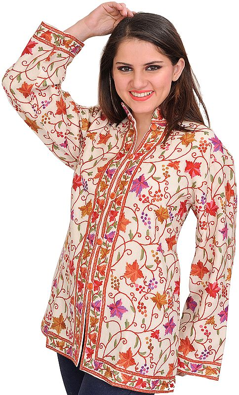 Ivory Jacket from Kashmir with Ari Hand-Embroidery All-Over