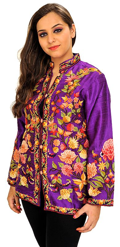 Royal-Lilac Hand Embroidered Short Jacket from Kashmir
