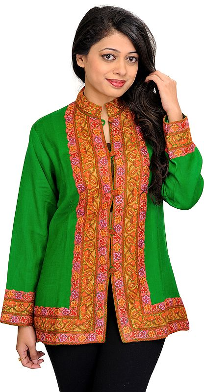 Mint-Green Jacket from Kashmir with Ari Hand-Embroidery on Border