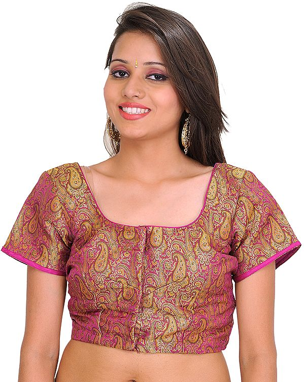 Deep-Orchid Brocaded Choli from Banaras with Woven Paisleys
