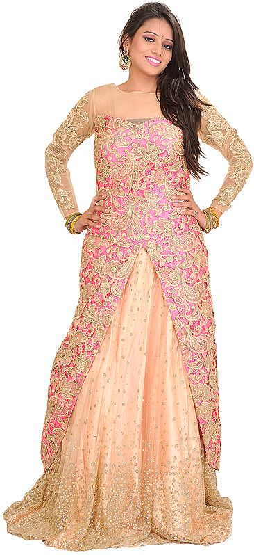 Pink and Cream Designer Embroidered Smiley Jacket Lehanga with Embellished Border