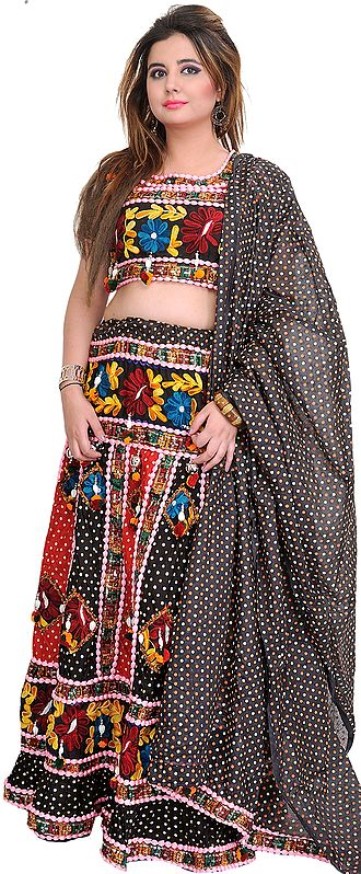 Black and Red Embroidered Lehenga Choli from Jodhpur with Sequins and Printed Polka Dots