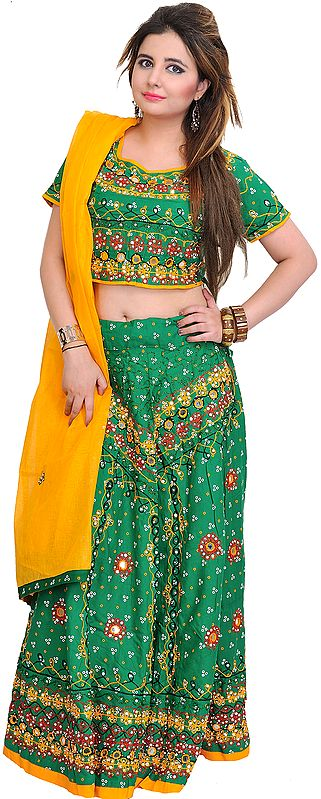 Embroidered Lehenga Choli from Jodhpur with Bandhani Print and Mirrors