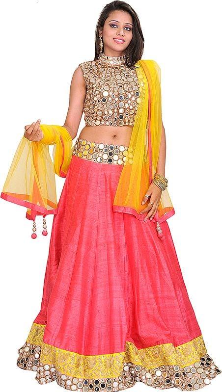 Pink and Yellow Gol Sheesha Lehanga Choli with Embroidered Mirrors