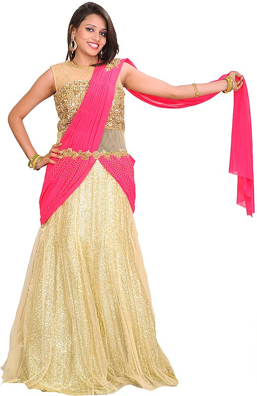 Golden and Pink Designer One-Piece Dress with Sequins All-Over