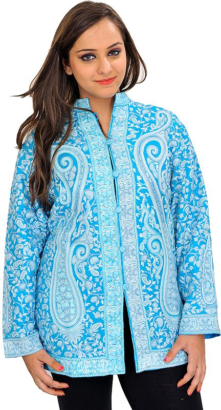 Hawaiian-Ocean Hand Embroidered Jacket from Kashmir with Giant Paisleys