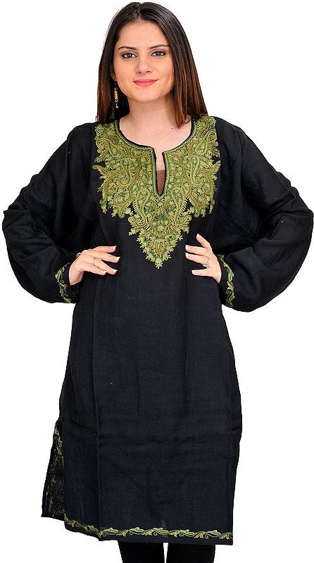 Jet-Black Phiran from Kashmir with Ari Hand-Embroidered Paisleys on Neck