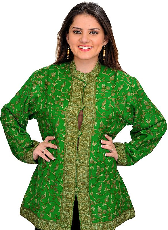 Mint-Green Jacket from Kashmir with Ari Hand-Embroidered Paisleys All-Over