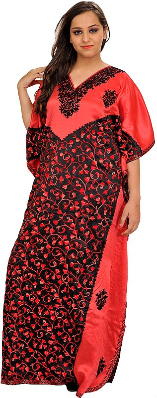 Hibiscus-Red and Black Kaftan from Kashmir with Ari-Embroidered Paisleys