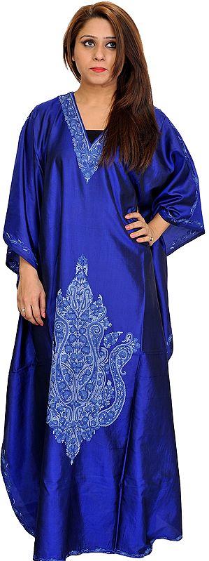 Mazarine-Blue Kaftan from Kashmir with Ari Hand-Embroidered Paisleys