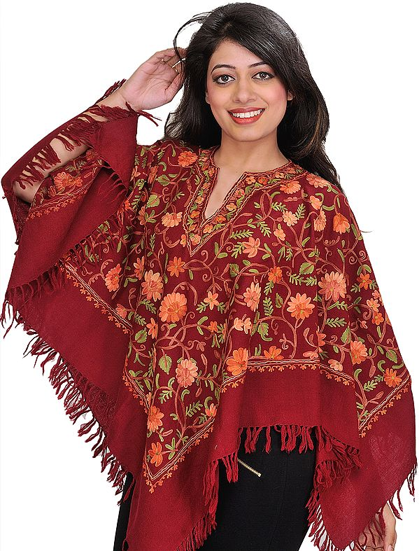 Biking-Red Floral Ari-Embroidered Poncho from Kashmir