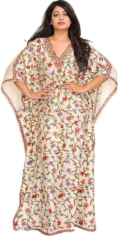 Cream Floral Hand-Embroidered Kaftan from Kashmir