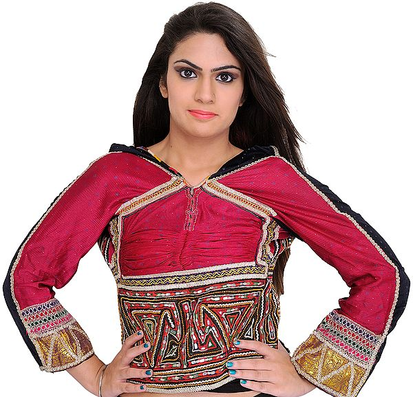 Fuchsia-Rose and Black Backless Choli from Kutch with Antiquated Rabari Embroidery