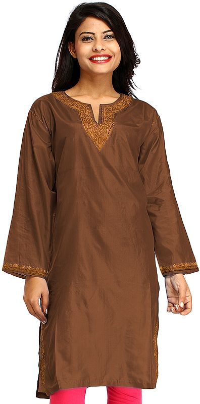 Plain Long Kurti from Kashmir with Ari Hand-Embroidery on Neck