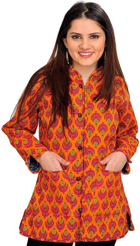 Sun-Orange Block Printed Reversible Jacket from Pilkhuwa with Straight Stitch