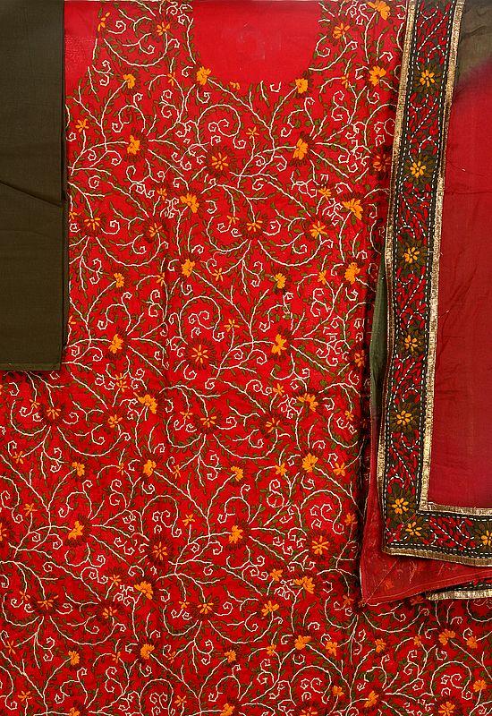 Tango-Red and Olive Phulkari Salwar Kameez Fabric with Ari Embroidered Flowers