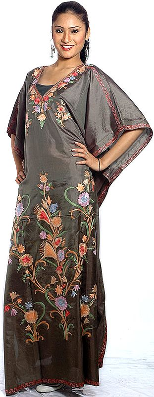 Taupe Kaftan from Kashmir with Ari-Embroidered Flowers