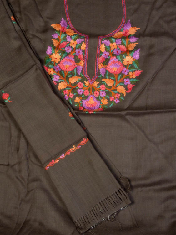 Taupe Suit from Kashmir with Floral Ari Embroidery