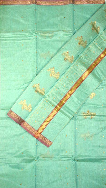 Tea-Green Chanderi Suit with Bootis Woven in Golden Thread