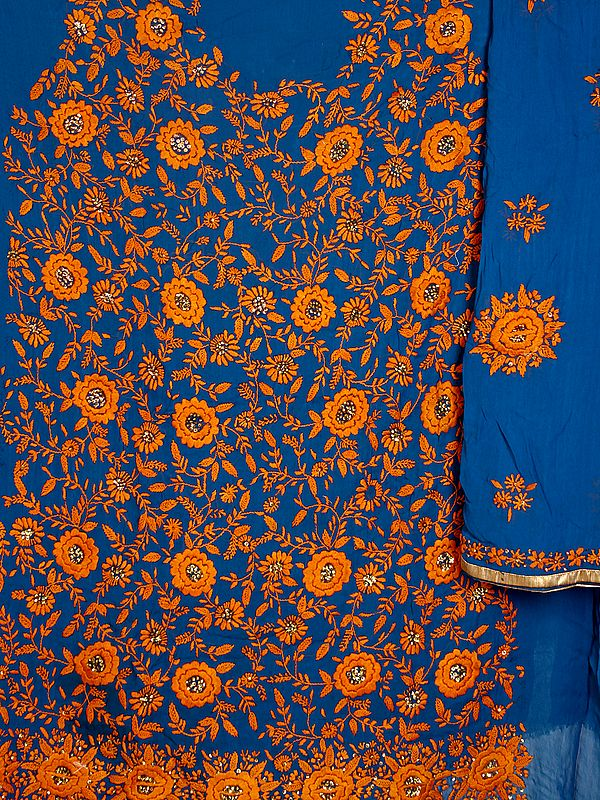 Teal-Blue Phulkari Salwar Kameez Fabric with Sequins and Hand-Embroidery in Amber Thread