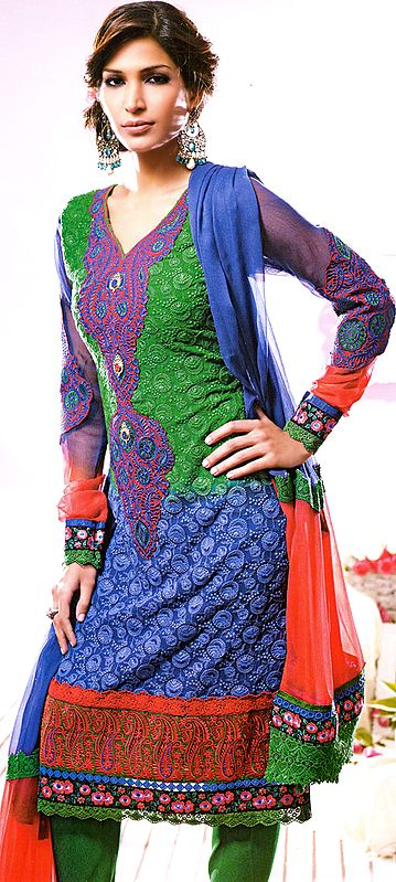 Tr-Color Chudidar Kameez Suit with Patchwork and Self-Colored Embroidery All-Over
