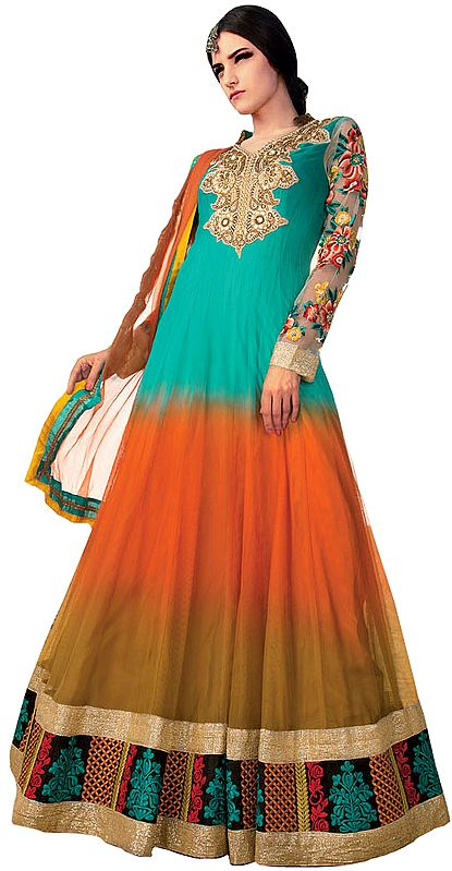 Tri-Color Bridal Anarkali Suit with Crewel Embroidery and Patch Border
