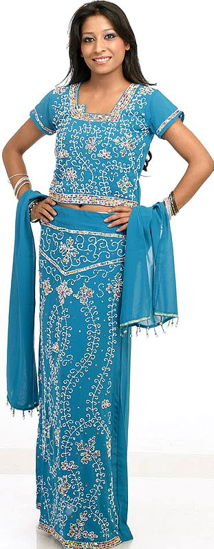Turquoise Blue Lehenga Choli with Beadwork and Sequins