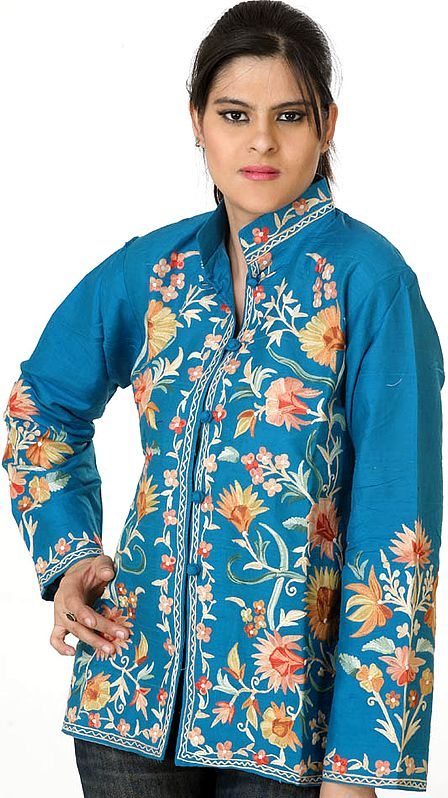 Turquoise Jacket with Multi-Colored Flowers