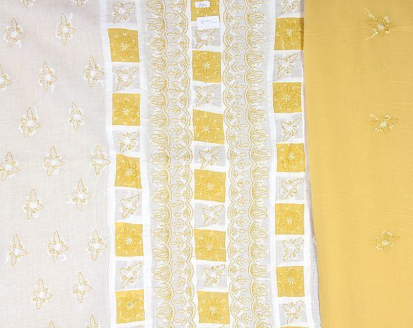 White and Sauterne-Yellow Salwar Kameez Fabric with Lukhnavi Chikan Embroidery