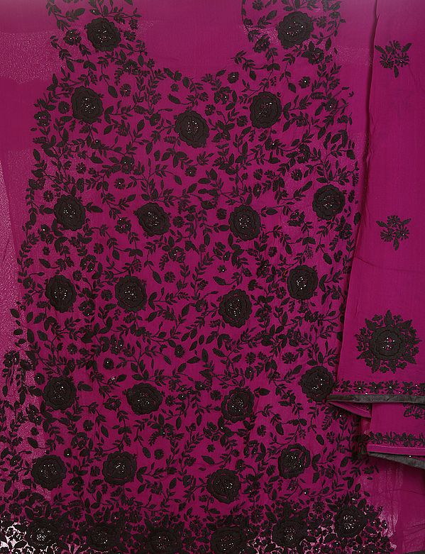 Wild-Aster Purple Phulkari Salwar Kameez Fabric from Punjab with Ari Embroidered Flowers and Sequins