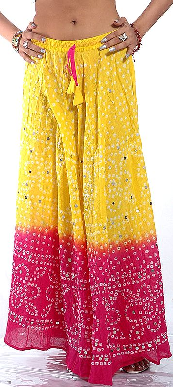 Yellow and Magenta Bandhani Skirt with Large Sequins