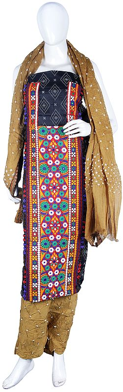 Bandhani Salwar Kameez Fabric from Gujarat with Multicolor Embroidery and Mirrors