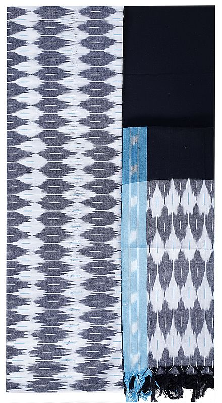 Smoky-Gray Salwar Kameez Fabric from Pochampally with Ikat Weave