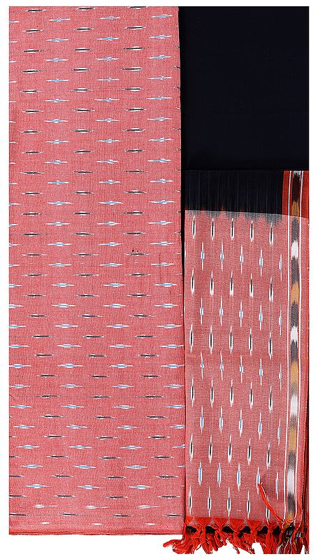 Coral-Pink Salwar Kameez Fabric from Pochampally with Ikat Weave