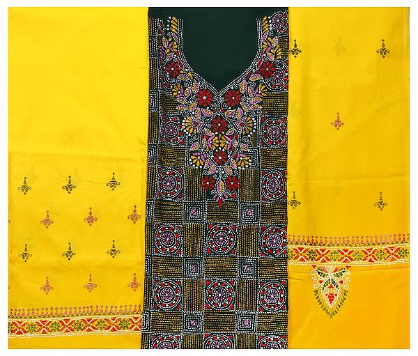 Salwar Kameez Fabric from Kolkata with Kantha Hand-Embroidery