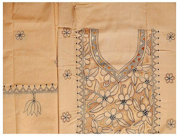 Banana-Crepe Salwar Kameez Fabric from Kolkata with Kantha Hand-Embroidery