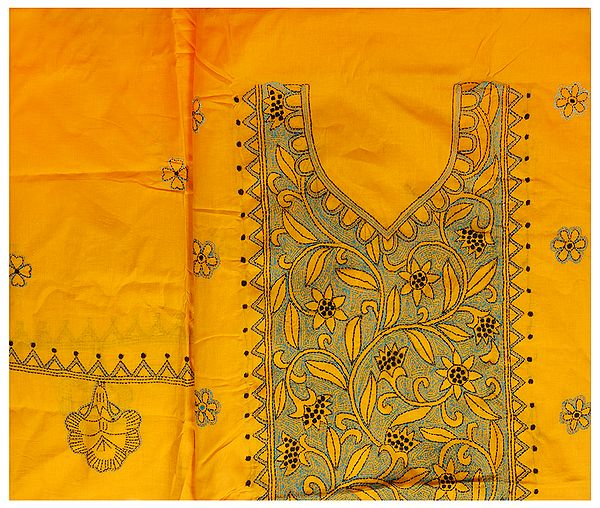Apricot Salwar Kameez Fabric from Kolkata with Kantha Hand-Embroidery