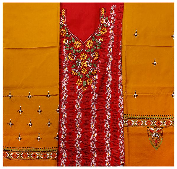 Red and Citrus Kantha Salwar Kameez Fabric from Kolkata with Hand-Embroidery