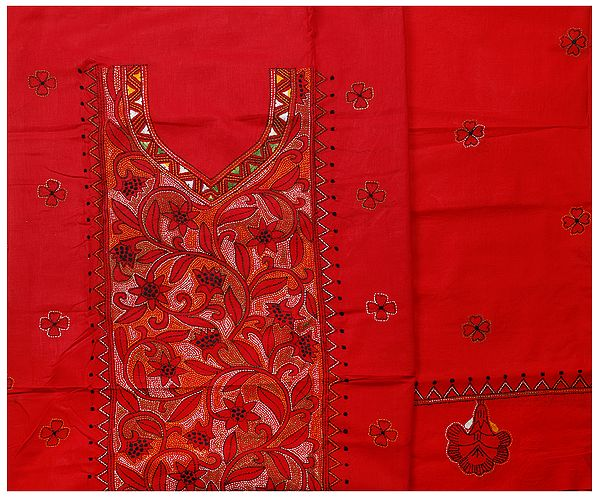 Jester-Red Salwar Kameez Suit from Kolkata with Kantha-Embroidery by Hand